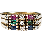 Stacking Ruby Emerald Sapphire Diamond Ring 14k Plumb Gold Engagement Wedding Band