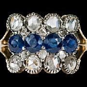 SALE Antique Old Rose Cut Diamond Sapphire Ring 18k Gold Diamond Sapphire Ring
