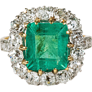 4ctw Authentic Antique Natural Emerald Diamond Ring 750 18k Gold Old Mine Cut Diamond Emerald