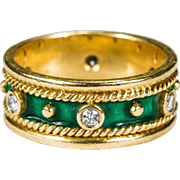 Etruscan Green Enamel Diamond Ring 18k Gold Stacking Diamond Enamel Wedding Band