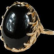 Natural Black Onyx Ring 14k Gold Leaf Vine Wreath Ring