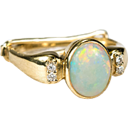 Natural Opal Diamond Ring 14k Gold Adjustable Diamond Opal Ring