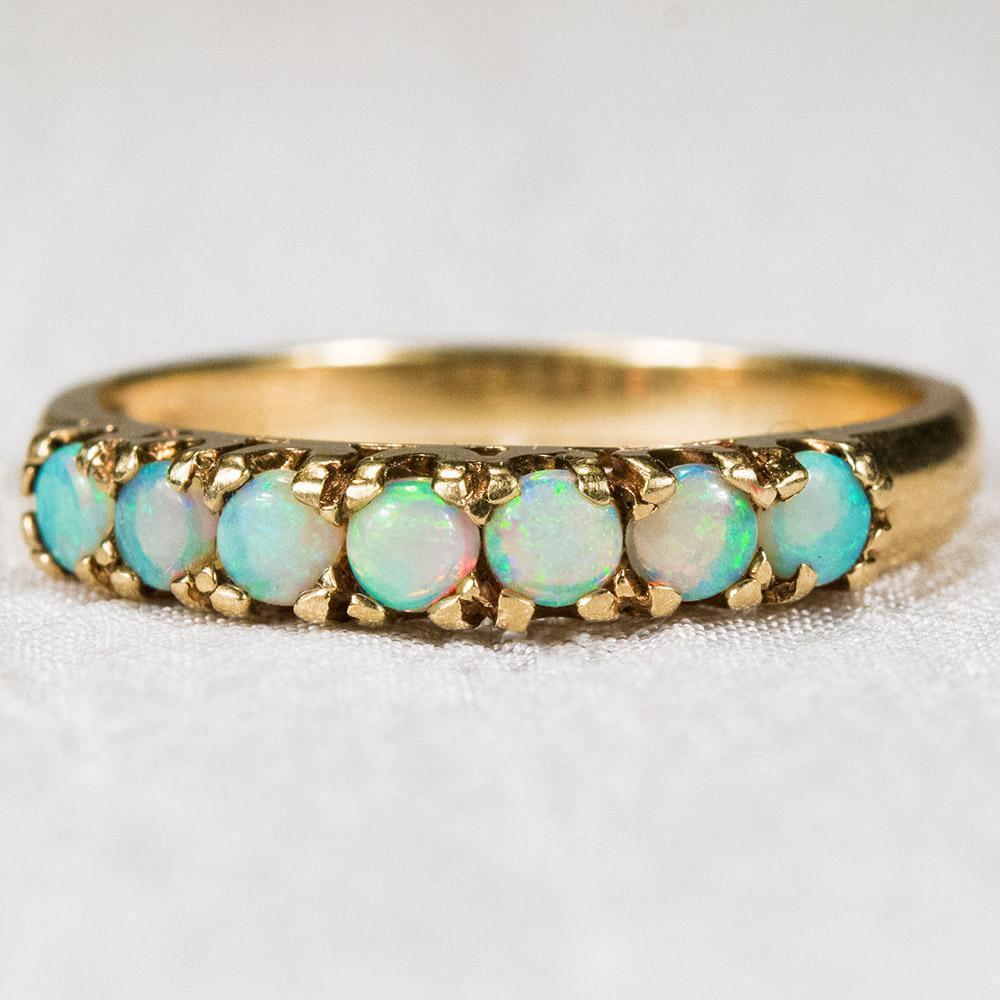 Natural Opal Ring 10k Gold Opal Wedding Band Stacking Ring from tanyastreasur