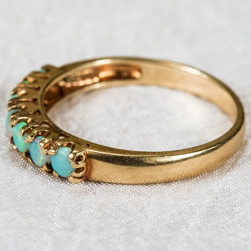 Natural Opal Ring 10k Gold Opal Wedding Band Stacking Ring from rubylane sold
