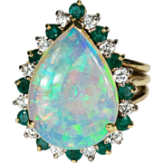5.84ctw Natural Black Opal Emerald Diamond Ring 18k Gold Opal Emerald Diamond Ring