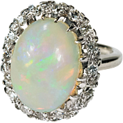 7ctw Natural Huge Fire Opal Diamond Ring 14k Gold