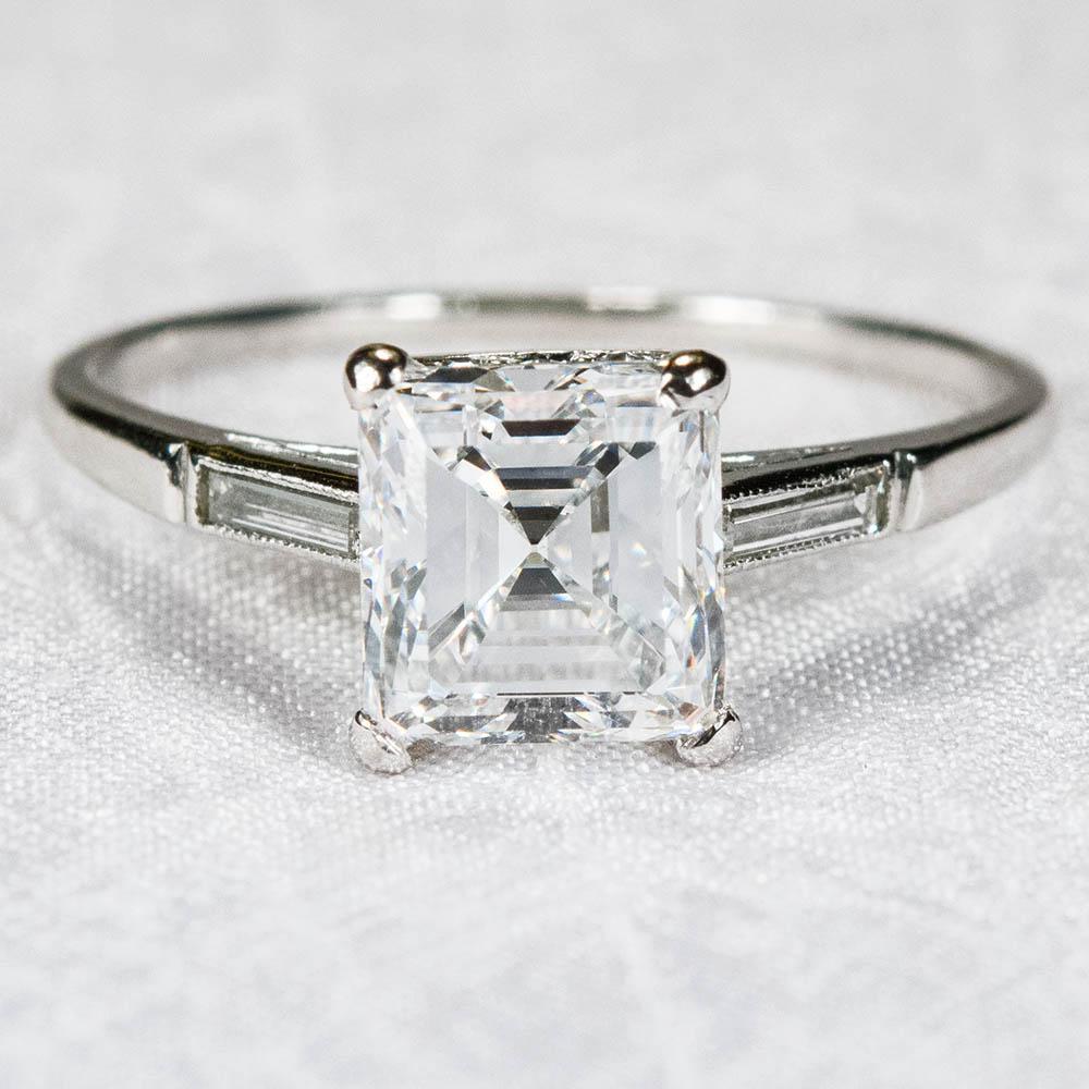 Antique 2ctw VS2E Asscher Cut Diamond Ring Platinum Wedding Engagement from t