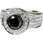 6ctw Solitaire Natural Black Diamond White Diamond Cluster Ring 10k Gold
