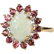 3.54ctw Natural Fire Opal Pink Tourmaline Diamond Halo 14k Gold Ring