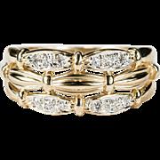 Three Row Diamond Stacking Ring 14k Gold Wedding Band