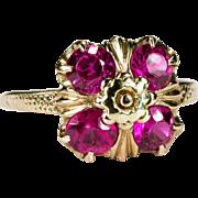 Art Deco Hot Pink Sapphire 10k Gold Ring