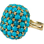 Hand Crafted Natural Persian Turquoise Beaded Dome Ring 18k Gold