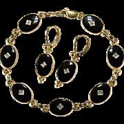 Black Onyx Van Dell Diamond Bracelet Earrings Demi Parure 14k Gold Set