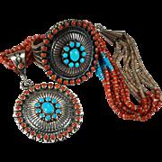 SALE Lee Brown Native American Navajo Signed Sterling Turquoise Coral Bracelet Pendant Necklac