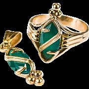 Rare Edwardian Custom Russian Chrysoprase Ring Pendant 18k Rose Gold Set
