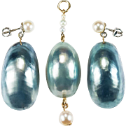Natural Ocean Blue Nautilus Shell 14k Gold Screw Back Earrings Pendant Set