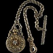 Antique Old European Cut Paste Perfume Bottle Pendant 14k Gold Watch Fob Chain Clip