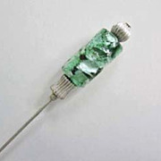 SOLD Exquisite Teal Venetian Art Glass Stick Pin RARE - Antique Venetian Glass Silver Foil Bea