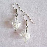 Gorgeous Venetian Millefiori Art Glass Earrings, Hearts, Flower - Clear & White Murano Glass Beads