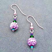 SALE MOD Czech Art Glass Earrings, SCARCE 1960's Czech Beads, Purple & White