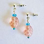 Stunning Czech Art Glass Earrings, SCARCE 1950's Frosted Czech Glass Beads