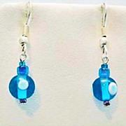 SALE Fabulous Turquoise Czech Art Glass Earrings, SCARCE 1960's Czech Beads