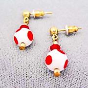 SALE Fabulous Czech Art Glass Earrings, 1960's MOD Czech Polka Dot Beads
