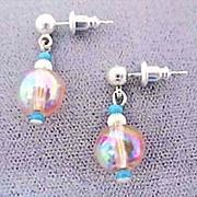 SALE Gorgeous Pink Czech Art Glass Earrings, SCARCE 1950's AB Czech Beads