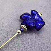 SOLD Stunning Venetian Art Glass Stick Pin, Murano Glass Bead, 24K Gold Foil, Cobalt Blue