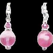 SALE Gorgeous Pink Czech Art Glass Earrings, SCARCE 1950's Frosted Czech Glass Beads