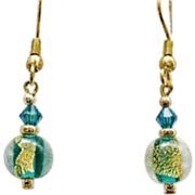 Fabulous Teal Venetian Art Glass Earrings, 24k Gold Foil, Murano Glass Beads