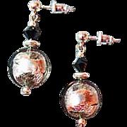 SOLD Fabulous Silver Foil Venetian Art Glass Earrings, Charcoal Gray Murano Glass Lentil Beads