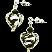 SALE Gorgeous Venetian Art Glass Earrings, Black Swirl Silver Foil Murano Glass Hearts