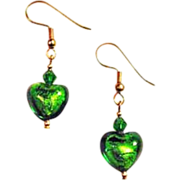 SALE Stunning Green Venetian Art Glass Earrings, 24K Gold Foil Murano Glass Hearts