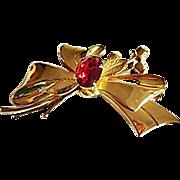 GORGEOUS Red Rhinestone Flower Bow Brooch, Goldtone, Vintage