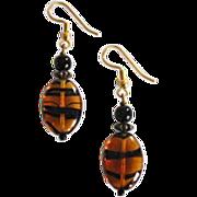 SALE Fabulous Czech Art Glass Earrings, SCARCE 1960's Czech Tiger Stripe Glass Beads