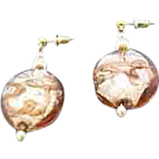 SALE Dazzling Venetian Art Glass Earrings, Silver Foil Murano Glass Beads, Aventurina