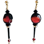 SALE Gorgeous German Art Glass Earrings, RARE 1940's Faceted German Glass Beads, Red & Black