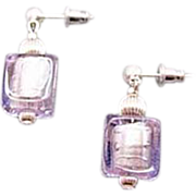 SALE Dazzling Alexandrite Venetian Art Glass Earrings, Silver Foil Murano Glass Beads, Cube