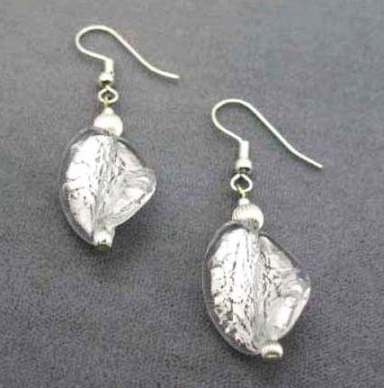 Dazzling Venetian Art Glass Pierced Earrings, Silver Foil Murano Glass Beads
