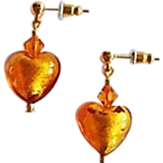 SALE Dazzling Topaz Venetian Art Glass Earrings, 24K Gold Foil Murano Glass
