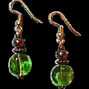 SALE Fabulous Czech Art Glass Earrings, RARE 1960's Peridot Czech Glass Beads