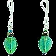 SALE Fabulous German Pressed Glass Earrings, SCARCE 1960's Glass Beads, Leaf