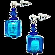 SALE Gorgeous Venetian Art Glass Earrings, Aegean Blue Silver Foil Murano Glass Beads, Cubes