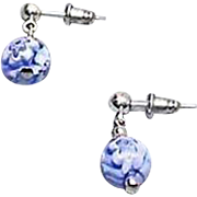 SALE Stunning Venetian Millefiori Art Glass Earrings, Blue & White Murano Glass Beads