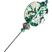 SALE Stunning Teal Silver Foil Venetian Glass Stick Pin, Murano Glass Bead