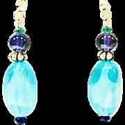 SALE Gorgeous Czech Art Glass Earrings, RARE Turquoise 1960's Czech Beads