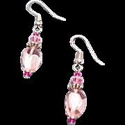 SALE Gorgeous Pink Czech Art Glass Earrings, RARE 1960's Czech Glass Beads