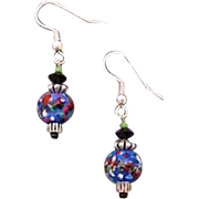 SALE Fabulous Blue Czech Art Glass Earrings, RARE 1960's Czech Glass Beads