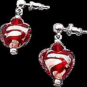 SALE Gorgeous Venetian Art Glass Earrings, Red Swirl Silver Foil Murano Glass Hearts